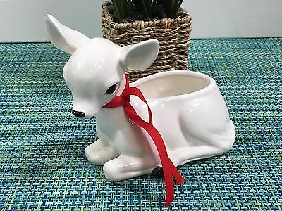 Vintage Retro Napco Christmas Reindeer Planter Candy Dish Made in Japan no 341