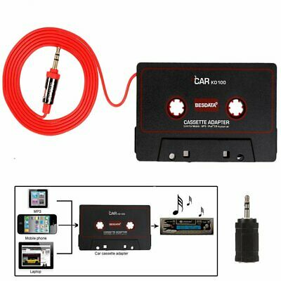 Car 3.5mm Adapter Audio AUX Cassette Player Tape Aux Cable Cord For MP3 Phone TN