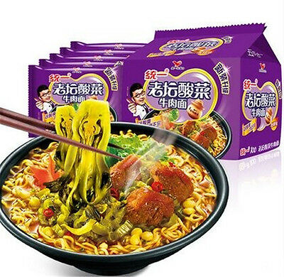 Delicious Chinese Instant Noodles Fried Noodle 121g * 5 bags 统一100 老坛酸菜牛肉面 5包