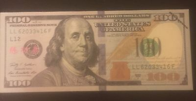 1 $100 DOLLAR BILL PROP/ CHINESE TRAINING NOTES MONEY Novelty 2009 Series