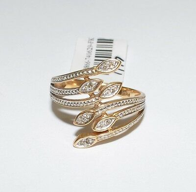 Solid 9k Yellow Gold Diamond Ladies Snake Dress Ring Sz N 2.7gm #740629