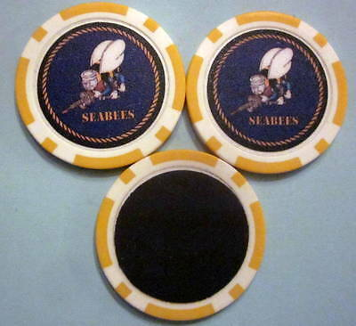 LOT of 2 United States US Navy Seabees Military Poker Chip Magnets