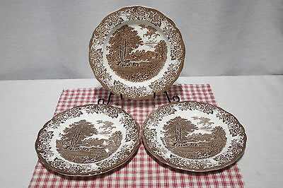 """LOT of 3 J&G Meakin  ROMANTIC ENGLAND 10"""" Dinner  Plates. Brown / White"""
