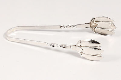 Vintage Signed Sterling Silver Sugar Olive Ice Tongs Twisted Handle RAIMOND