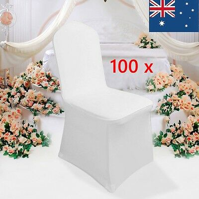 100X White Chair Cover Flat Front Spandex Lycra Banquet Wedding Party Decoration
