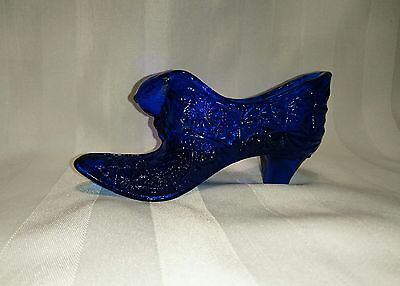 Dark Blue Glass Puss and Boots Shoe