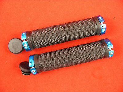 BLUE / BLACK SCOOTER OR BIKE GRIPS 23mm x 130mm with bar ends