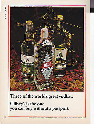 Original Print Ad-1966 Gilbey's Is The On You Can Buy Without A Passport-VODKA