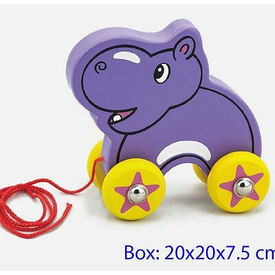 Wooden Pull Along Toy Hippo, Viga Toys Toddler Pull along toy