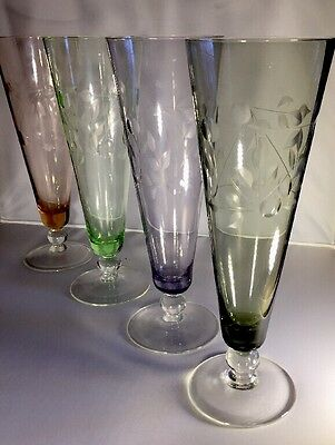 Vintage High Ball / Tall Cocktail Glasses - Multi Coloured Cut Crystal