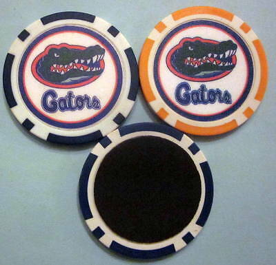LOT 2 Florida Gators University Poker Chip Magnets Locker Refrigerator