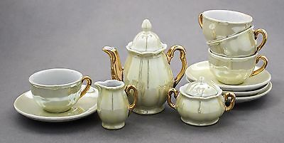 60s vintage boxed child tea set 4 cup/saucer GDR East Germany iridescent china