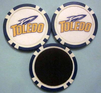 LOT of 2 Toledo Rockets University Poker Chip Magnets Locker Refrigerator Door