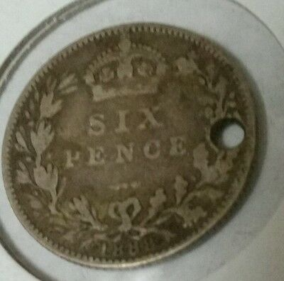 1888 Great Britain 6 pence-925 Silver-Holed