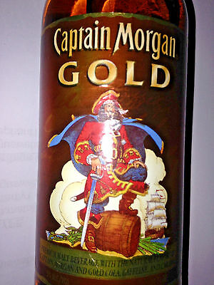 RARE Vintage Captain Morgan GOLD Rum Pirate Glass Bottle Discontinued Spice Cola