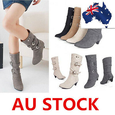 Women Chunky Low Heel Wedge Boots Over Knee Mid Calf Slip On Shoes AU size 2-7