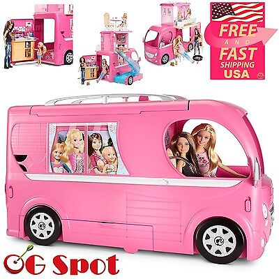 Original barbie doll pop up car camper camping vehicle play game girl gift toy cad for Barbie camper van with swimming pool