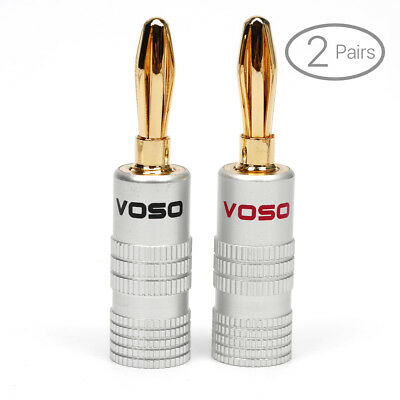 VOSO Gold Plated Screw Banana Plug Connector Speaker Wire Cable H4 2 Red 2 Black
