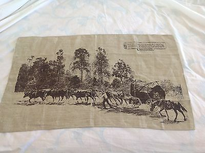 "Vintage Linen Tea Towel Depicting "" Timbertown Wauchope""  Cattle Dray"