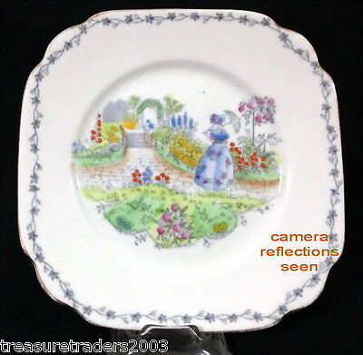 ♡ Bell China Square Side Plate Blue Crinoline Lady In Garden Bone China England