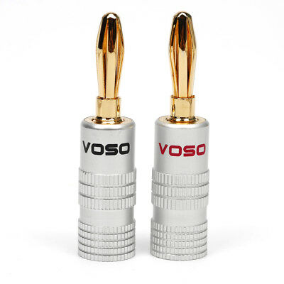VOSO Gold Plate Speaker Cable Wire Screw Banana Plug Connector H12 6 Red 6 Black