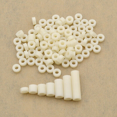 100 Pcs M4 White Spacer Washer Plastic Standoff Screws Fastener Supplies Hollow