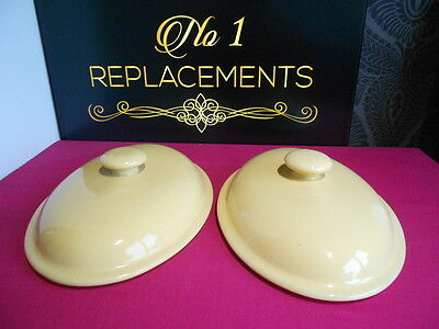 """2 x Denby Yellow Spice Oval Lids for Serving Dishes Will Fit Any 12.75"""""""