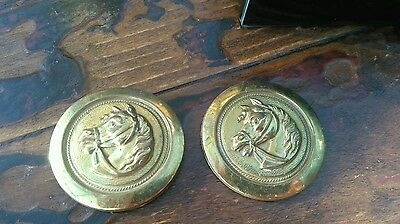 Pair antique horse harness brewery brasses, cast, horses heads