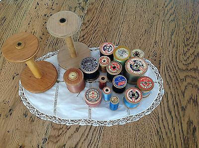17  X Vintage Wooden Cotton Reels Large And Smalll.