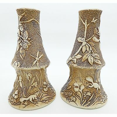 Antique British Art Pottery : An unusual pair large Bretby Vases C.1900