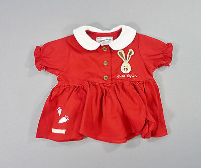 Sucre d'Orge 6 mois fille blouse manches courtes popeline rouge lapin layette