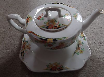 Vintage 'Florida' Pattern Teapot and Plate by Johnson Brothers
