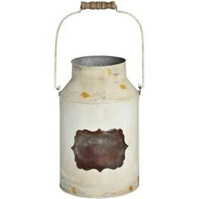 Decorative Vintage Cream Tin Metal Churn / Flower Pot Display Outdoor Indoor