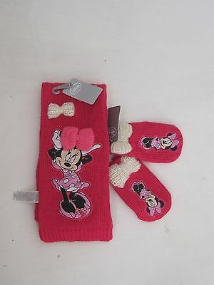 DISNEY Mittens M/L Scarf One Size Girl Minnie Mouse Knit Winter New LOT Of 2