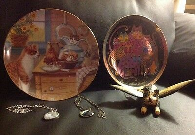 Deluxe LOT OF 5 CAT LOVER ITEMS Vintage, Plates, Hand Painted  Cat And Jewelry