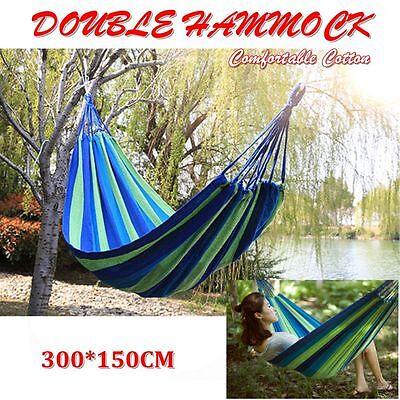 200Kg Huge Double Cotton Hammock Air Chair Hanging Swinging Camping Outdoor Blue