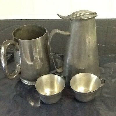 Antique Job Lot Of Pewter Jugs And Cups