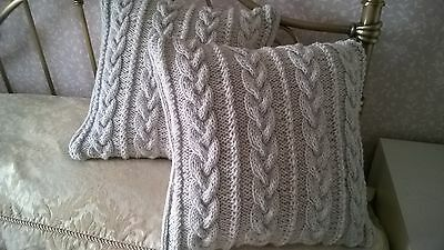 2 ARAN traditional LIGHT GREY CABLE & TWIST cushion covers HAND KNIT BRAND NEW