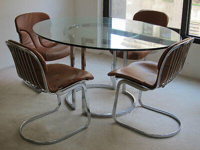 "1970's ITALY- ""CIDUE"" DINING GLASS-5/8"" TABLE SET (6 LEATHER CHAIRS),"