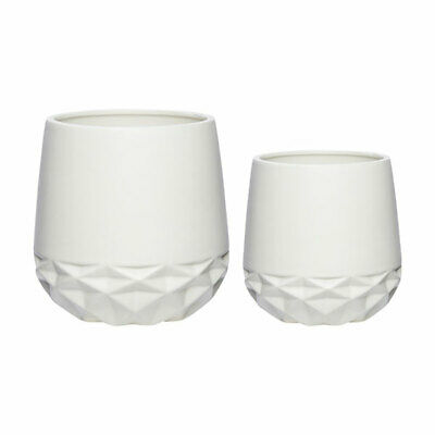 Ceramics Pot White With Pattern Set of 2 Danish Design by Hubsch