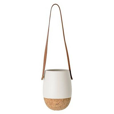 Matte White & Cork Plant Hanger with Flower Pot and Leather Strap by Blooming...