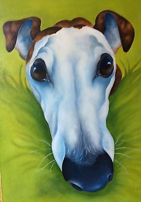 Greyhound original oil painting by Sulky Cow artist Lizzie Hall