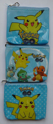 POKEMON GO PIKACHU Zip Coin Purse childrens 3 designs party bags NEW Squirtle