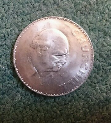 1965  'winston Churchill'  Commemorative  Five Shilling  Crown Coin