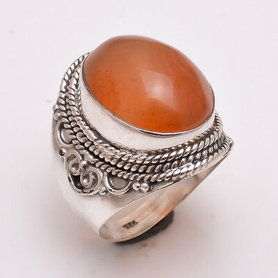 925 Sterling Silver Ring UK Size Q3/4, Natural Carnelian Gemstone Jewelry R3113