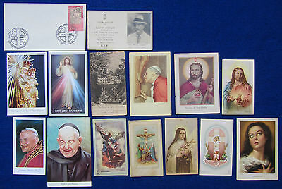 Malta 15 Old Christian Holy Pictures / Prayer Cards - Jesus, Mary, Saints & Pope