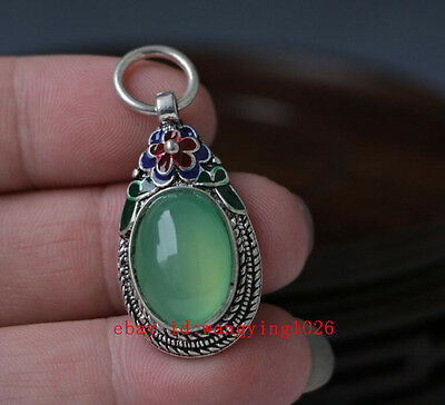 China handwork tibet-silver inlay jade stone Cloisonne Flower Pendants