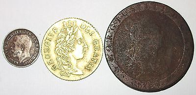 THREE OLD BRITISH COIN DATED 1797x2 AND 1918. GEORGE. ENGLAND. INCLUDING SILVER