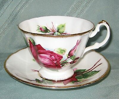 Paragon Cup & Saucer - Deep Red Blooming Roses & Rosebuds - Gold Trim