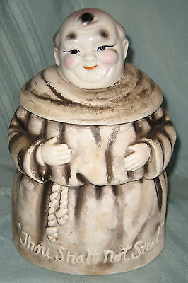 Cookie Jar - Thou Shalt Not Steal, Friar, Monk, Giftcraft Japan - 1950's/60's